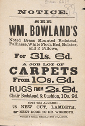Advert for WM Bowland's carpet store